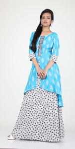 SKIRT-JACKET FINISH COTTON PRINTED ONE PIECES LONG DRESS