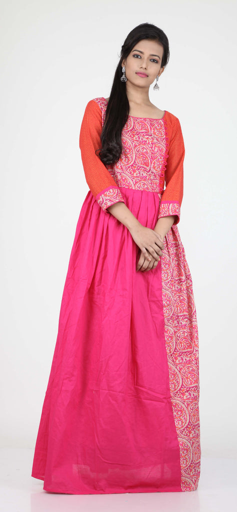 RANI COLOUR PLEATED ONE PIECES LONG COTTON DRESS   Keya Seth Exclusive