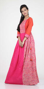 RANI COLOUR PLEATED ONE PIECES LONG COTTON DRESS