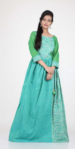 SEA GREEN COLOUR PLEATED ONE PIECES LONG COTTON DRESS