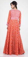 Load image into Gallery viewer, ORANGE COLOUR ONE PIECES LONG COTTON PRINTED DRESS WITH BEAUTIFUL PETAL SLEEVES