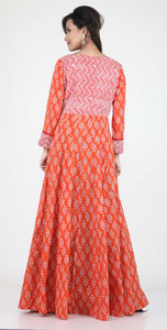 ORANGE COLOUR ONE PIECES LONG COTTON PRINTED DRESS WITH BEAUTIFUL PETAL SLEEVES