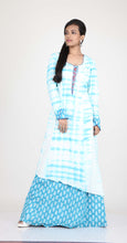 Load image into Gallery viewer, SKY BLUE COLOUR ASYMMETRIC ONE PIECES COTTON PRINTED LONG DRESS