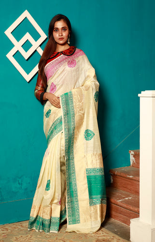 Cream Color Base Khadi Banarasi Saree With Multi Color Work