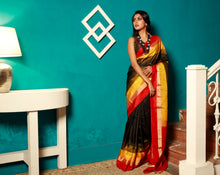 Load image into Gallery viewer, Black Base Pure Bangalore Silk Saree With Golden Zari Work