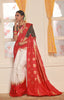 White Base Kanjeevaram Sarees Saree With Golden Zari Work
