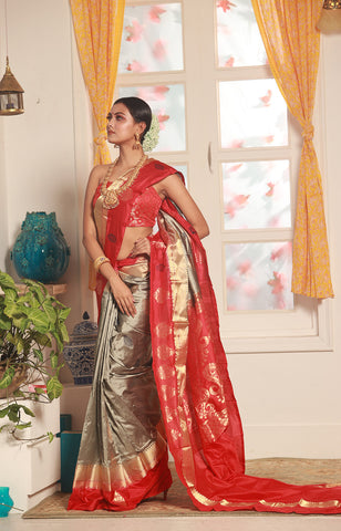 Beige Color Base Kanjeevaram Sarees Saree With Golden Zari Work
