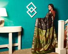Load image into Gallery viewer, Black Color Base Pure Sournachuri Silk Saree With Multi Color Zari Work