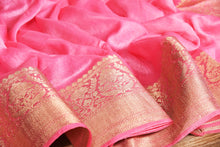 Load image into Gallery viewer, PINK COLOR BASE CHANDERI SILK SAREE DECORATED BY GOLDEN ZARI WORK WITH BLOUSE PIECE