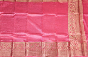 PINK COLOR BASE CHANDERI SILK SAREE DECORATED BY GOLDEN ZARI WORK WITH BLOUSE PIECE