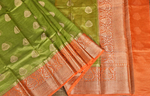 GREEN COLOR BASE WITH ORANGE BORDER CHANDERI SILK SAREE WITH BLOUSE PIECE