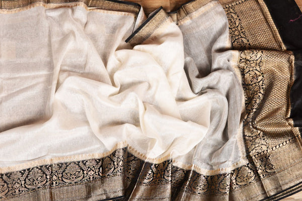 OFF WHITE COLOR BASE CHANDERI SILK SAREE DECORATED BY GOLDEN ZARI WORK WITH BLOUSE PIECE