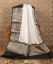 Load image into Gallery viewer, OFF WHITE COLOR BASE CHANDERI SILK SAREE DECORATED BY GOLDEN ZARI WORK WITH BLOUSE PIECE