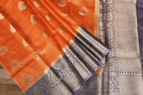 ORANGE COLOR BASE CHANDERI SILK SAREE DECORATED BY GOLDEN ZARI WORK WITH BLOUSE PIECE
