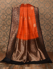 Load image into Gallery viewer, RUST COLOR BASE GHICHA SILK SAREE DECORATED BY GOLDEN ZARI WORK WITH BLOUSE PIECE