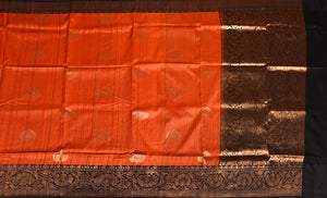 RUST COLOR BASE GHICHA SILK SAREE DECORATED BY GOLDEN ZARI WORK WITH BLOUSE PIECE
