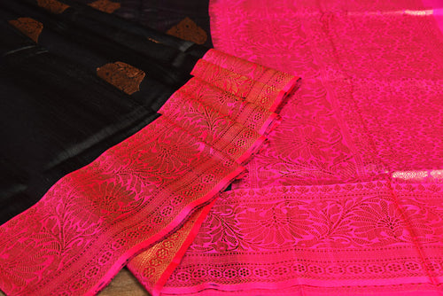 BLACK AND MAGENTA COLOR COMBINATION GHICHA SILK SAREE DECORATED BY GOLDEN ZARI WORK WITH BLOUSE PIECE