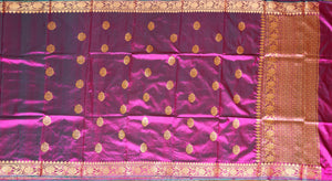 MAGENTA WITH GREEN COLOR SHADE KATAN SILK SAREE DECORATED BY GOLDEN ZARI WORK WITH BLOUSE PIECE