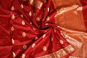 MAROON COLOR BASE KATAN SILK SAREE DECORATED BY GOLDEN ZARI WORK WITH BLOUSE PIECE
