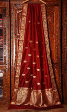 Load image into Gallery viewer, MAROON COLOR BASE KATAN SILK SAREE DECORATED BY GOLDEN ZARI WORK WITH BLOUSE PIECE