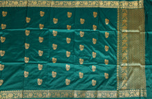 Load image into Gallery viewer, DARK GREEN COLOR BASE KATAN SILK SAREE DECORATED BY GOLDEN ZARI WORK WITH BLOUSE PIECE