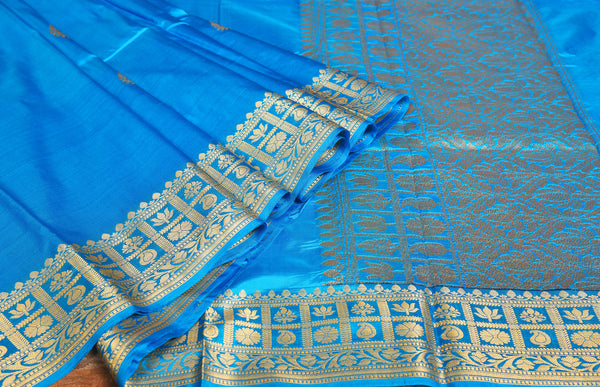 DODGER BLUE COLOR BASE KATAN SILK SAREE DECORATED BY GOLDEN ZARI WORK WITH BLOUSE PIECE
