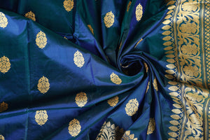PRUSSIAN BLUE WITH GREEN COLOR SHADE KATAN SILK SAREE DECORATED BY GOLDEN ZARI WORK WITH BLOUSE PIECE