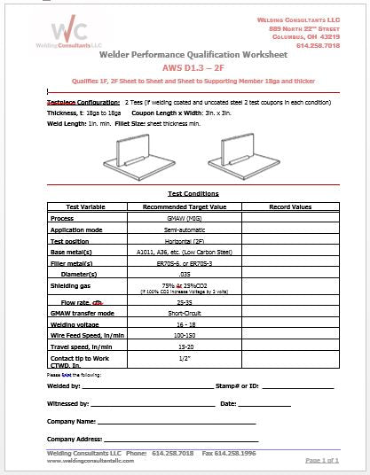 Qualification Worksheet  2F (Horizontal) GMAW 16Ga Sheet Steel (AWS D1.3)