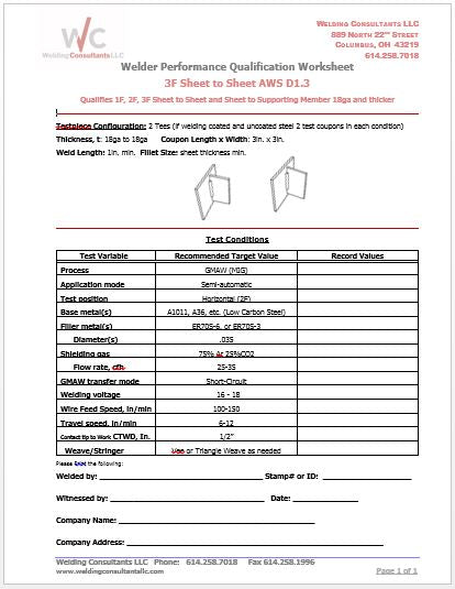 Qualification Worksheet  3F (Vertical-up) GMAW 16Ga Sheet Steel (AWS D1.3)
