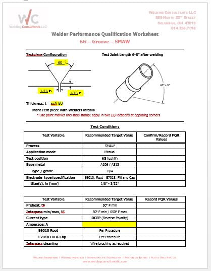 Pipe Welder Qualification Worksheet  6G SMAW  2in. Sch. 80 (ASME IX)