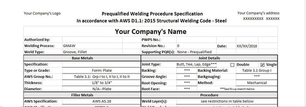 Custom Prequalified Welding Procedure (PWPS)