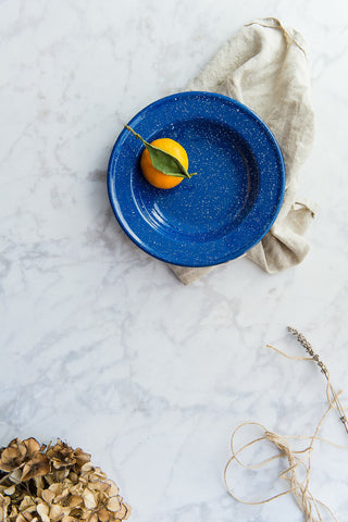blue speckled enamel plate