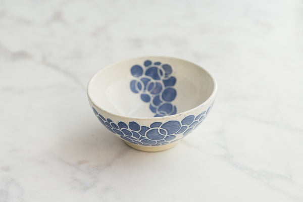 ceramic bowl with blue circular design