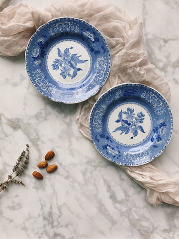 blue & white floral dessert plates, set of 2