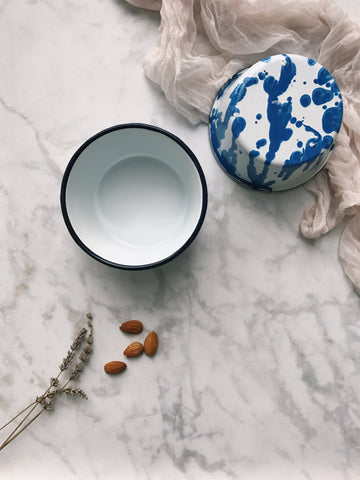 blue & white splatter enamel snack bowls, set of 2