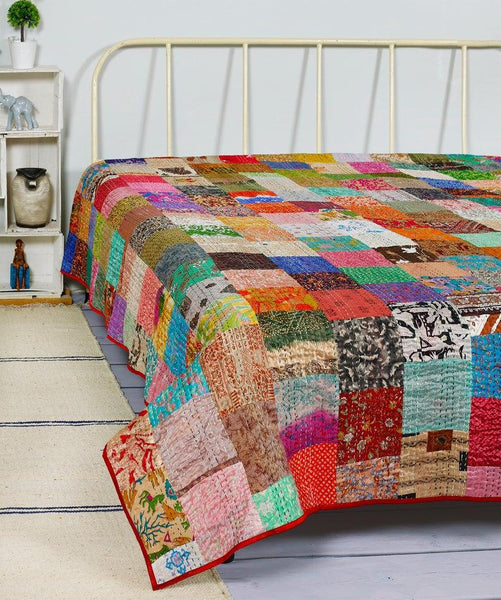 Patchwork Quilt Kantha Quilt Handmade Vintage Quilts Boho King Size Bedding Throw Blanket Bedspread Quilting Hippie Quilts