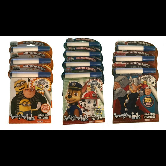 NEW Magic Ink Coloring Books Paw Patrol, Avengers