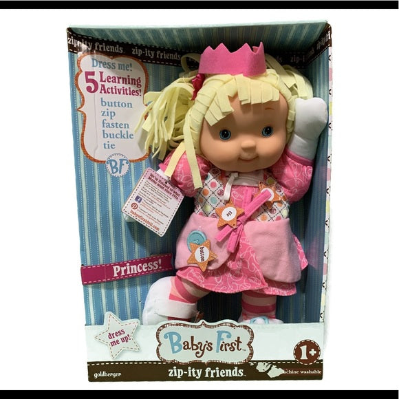 NIB Baby's First ZIP-Ity Friends 5 Activities Doll