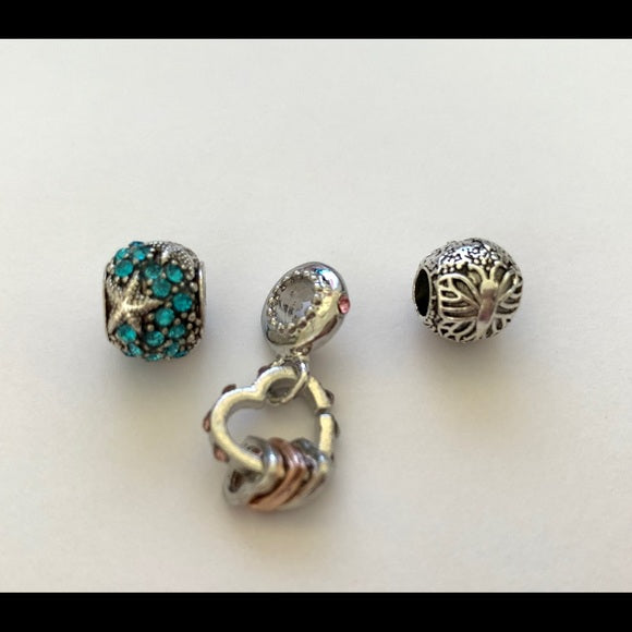 NEW Lot of 3 Bracelet Charms Lotus Flower