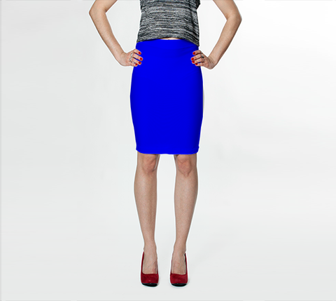 Bright Blue - Fitted Skirt - AWpaints - 1
