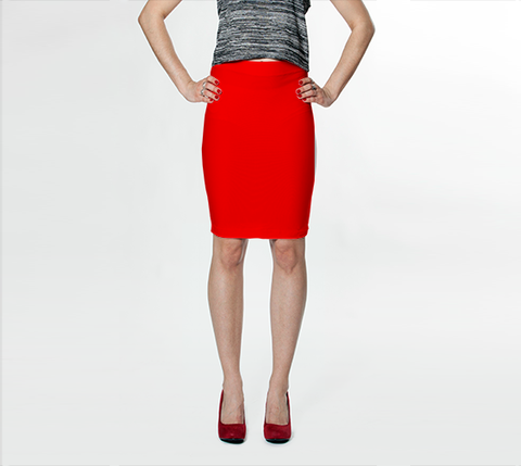 Bright Red - Fitted Skirt - AWpaints - 1