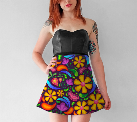 Hippie Flower - Flare Skirt - AWpaints - 1