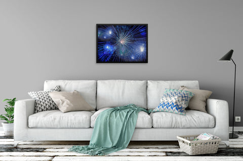 Bright Blue & White Fireworks - Framed Art Print