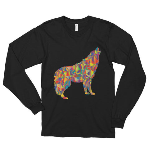 Abstract Howling Wolf - Long Sleeve T-Shirt - AWpaints - 1