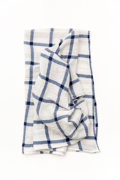 Navy Plaid Swaddle Wrap