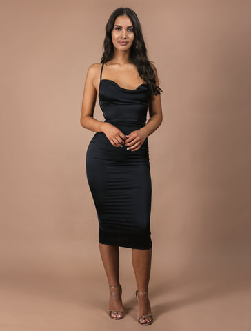 AURORA black midi dress