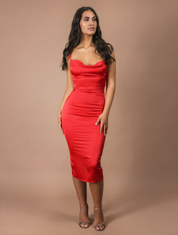 AURORA red midi dress