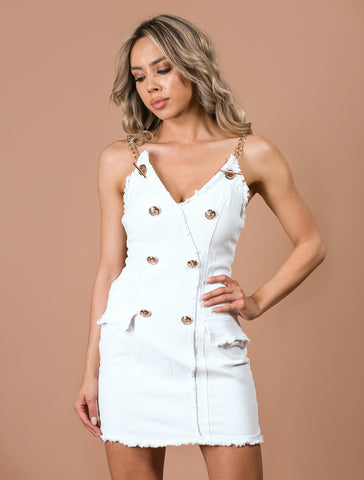 ZARINA white denim dress