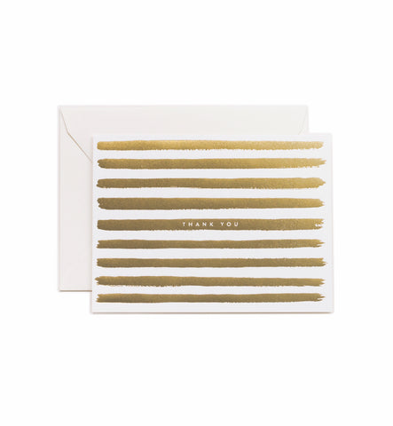 Gold Striped Thank you Card