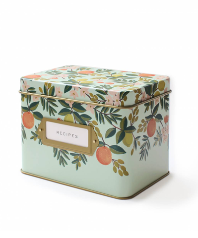 Citrus Floral Recipe Box with Cards